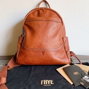 Frye Leather Backpack Front Slit Like New Cognac